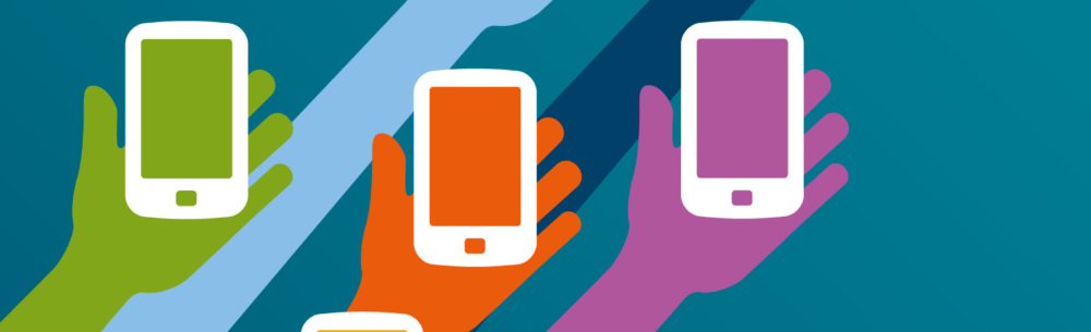illustration of 3 colorful rainbow hands holding mobile devices