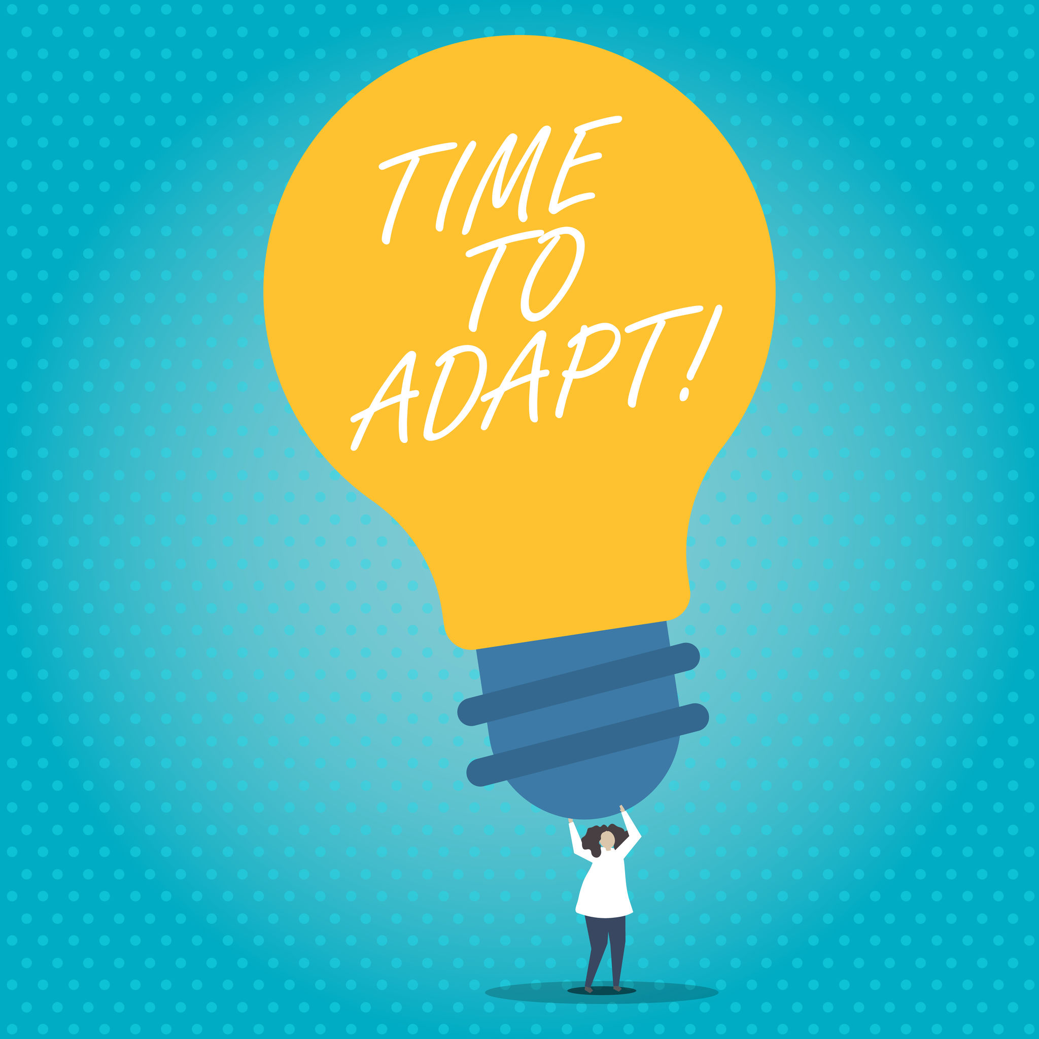 time to adapt on a light bulb illustration