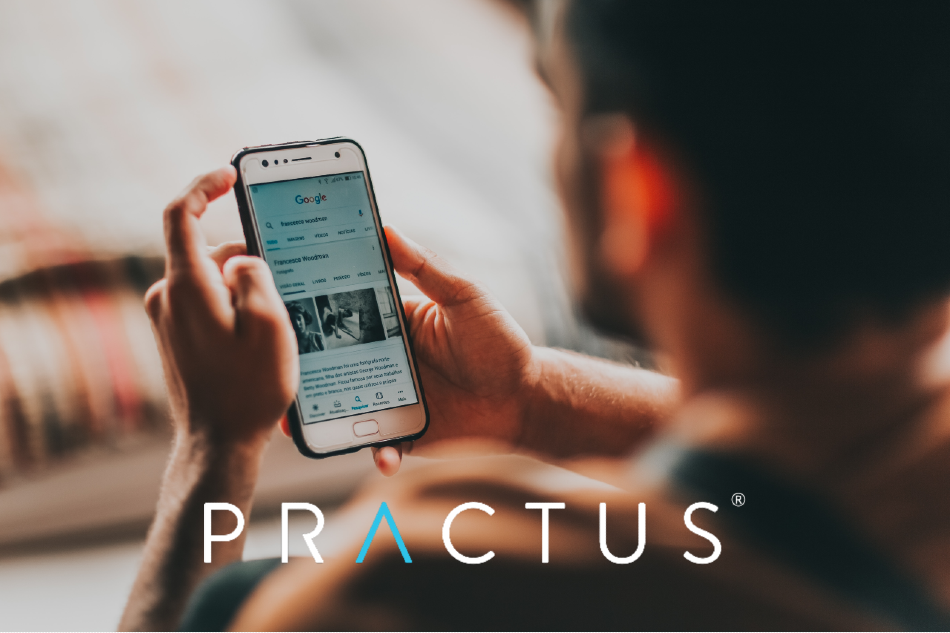 In the news practus logo over man holding phone